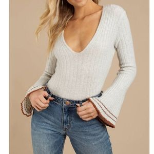 🆕 FREE-PEOPLE MORNING MAY BELL SLEEVED SWEATER